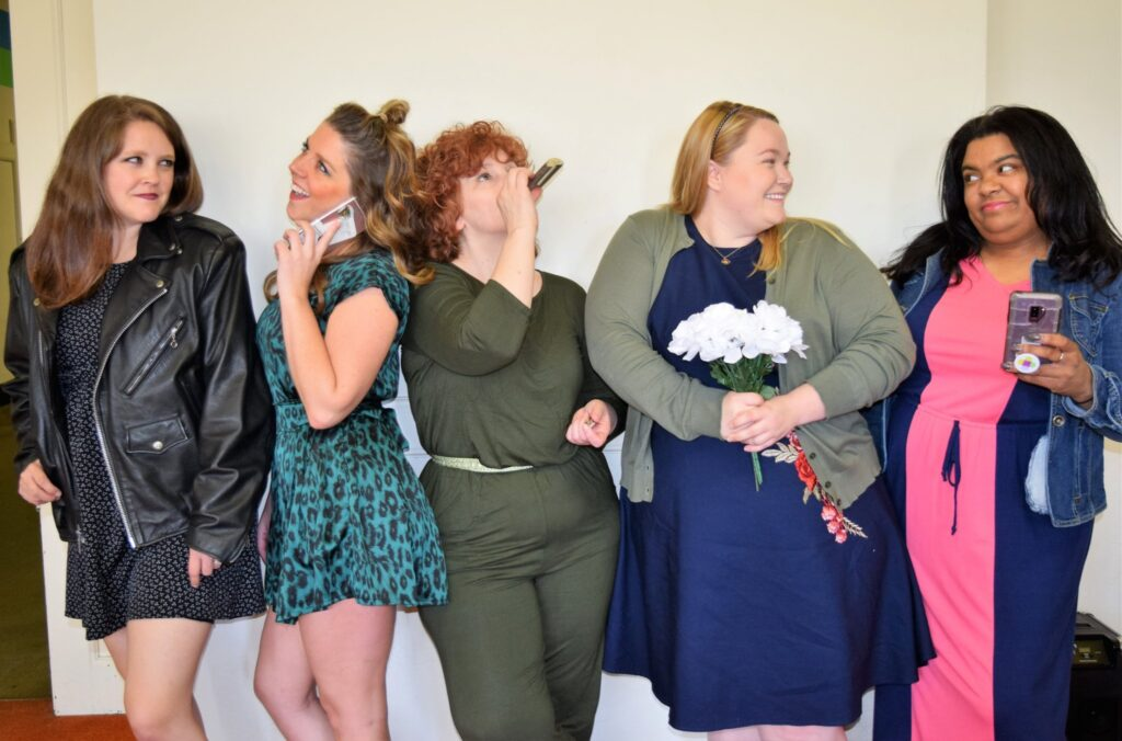 """""""Five Women Wearing the Same Dress"""" will be staged June 7-16 at L/A Community Little Theatre, 30 Academy St, Auburn. From left art Hali Fortin, Heather Marichal, Eileen Messina, Alexandra Lynch and Kay Warren."""