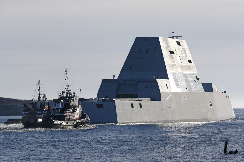 The first Zumwalt-class destroyer, the USS Zumwalt, leaves the Kennebec River in Phippsburg in December 2015.