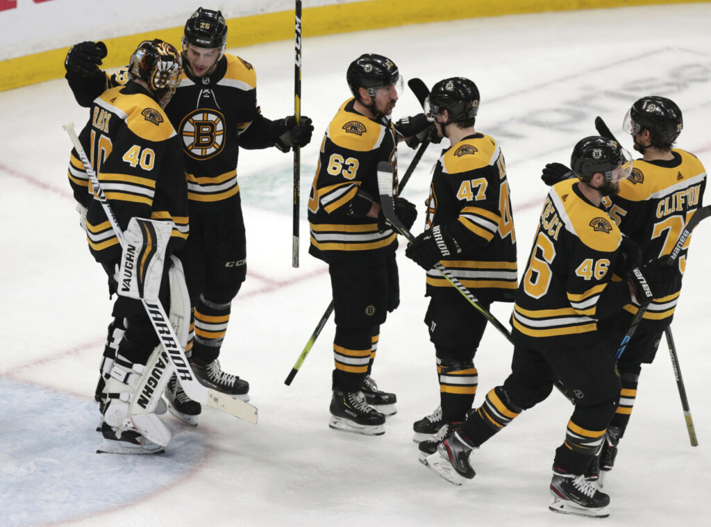 Goalie Tuuka Rask, 40, and the Boston Bruins celebrate after beating Columbus in Game 5 of their Eastern Conference semifinals last spring. The Bruins, who advanced to Game 7 of the Stanley Cup finals, have most of their roster back for the 2019-20 season.