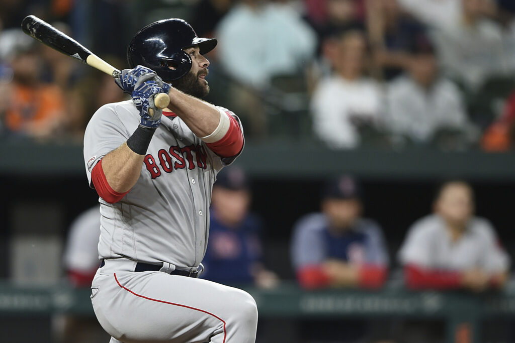 Mitch Moreland of the Red Sox launches a three-run homer in the fifth inning Tuesday night at Baltimore.