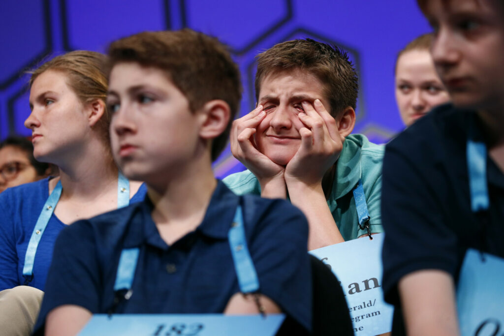 Sebastian Shields, 12, of Saco, Maine, reacts as he waits for his turn to compete in the second round of the Scripps National Spelling Bee, on Tuesday in Oxon Hill, Md. Shields didn't make it to the final round on Thursday.