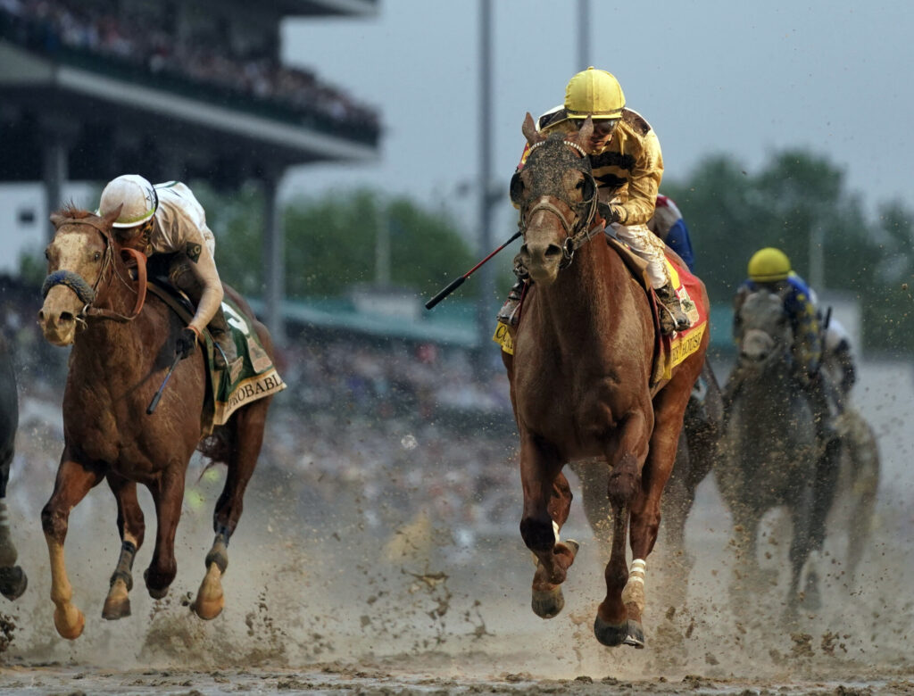 Flavien Prat rides Country House to the finish line during the 145th running of the Kentucky Derby on Saturday at Churchill Downs  in Louisville, Ky. Country House, the Kentucky Derby winner after Maximum Security was disqualified, will not run in the Preakness.