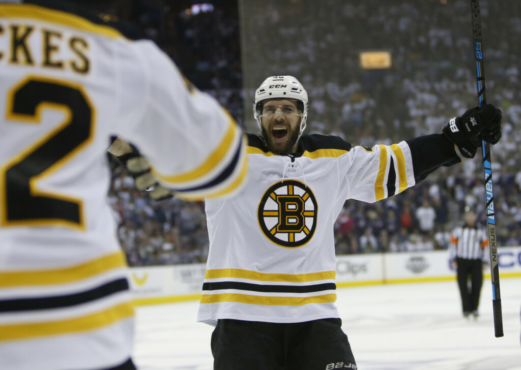 Boston's David Krejci celebrates a goal during the Bruins' 3-0 win over the Columbus Blue Jackets on Monday in Columbus, Ohio. Boston won the series 4-2 to advance to the Eastern Conference finals.