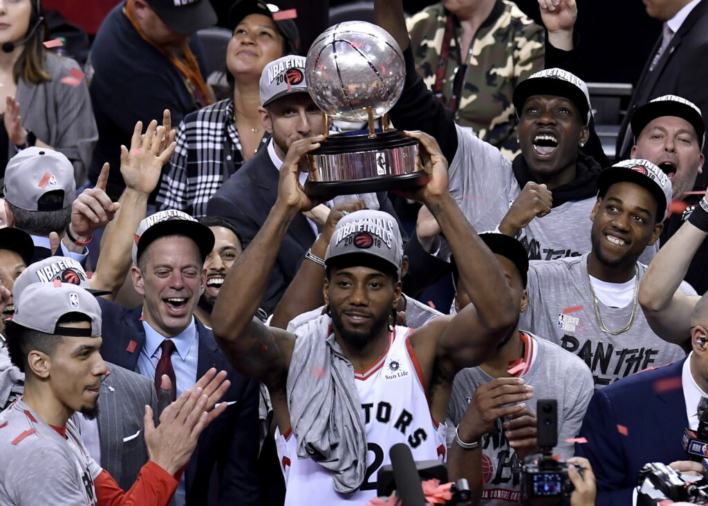 Kawhi Leonard and the Toronto Raptors did plenty of celebrating after winning the Eastern Conference finals but it is now time to get back to work. The Raptors will take on the Golden State Warriors in the NBA finals starting Thursday.
