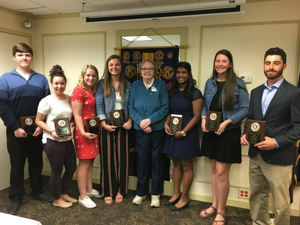The Augusta Kiwanis Club presented its Distinguished Youth Award on May 9 to seven local high school students. The award winners and the president of Kiwanis, from left, are Ben Reed, of Erskine Academy; Renee Rossi, of Gardiner Area High School; Brooklynn Belanger, of Capital Area Technical Center; Grace Begin, of Hall-Dale High School; President Dr. Alice Savage, of the Augusta Kiwanis Club; Josephine Nutakki, of Cony High School; Jessica Clavet, of Monmouth Academy; and Jackson Ladd, Winthrop High School.
