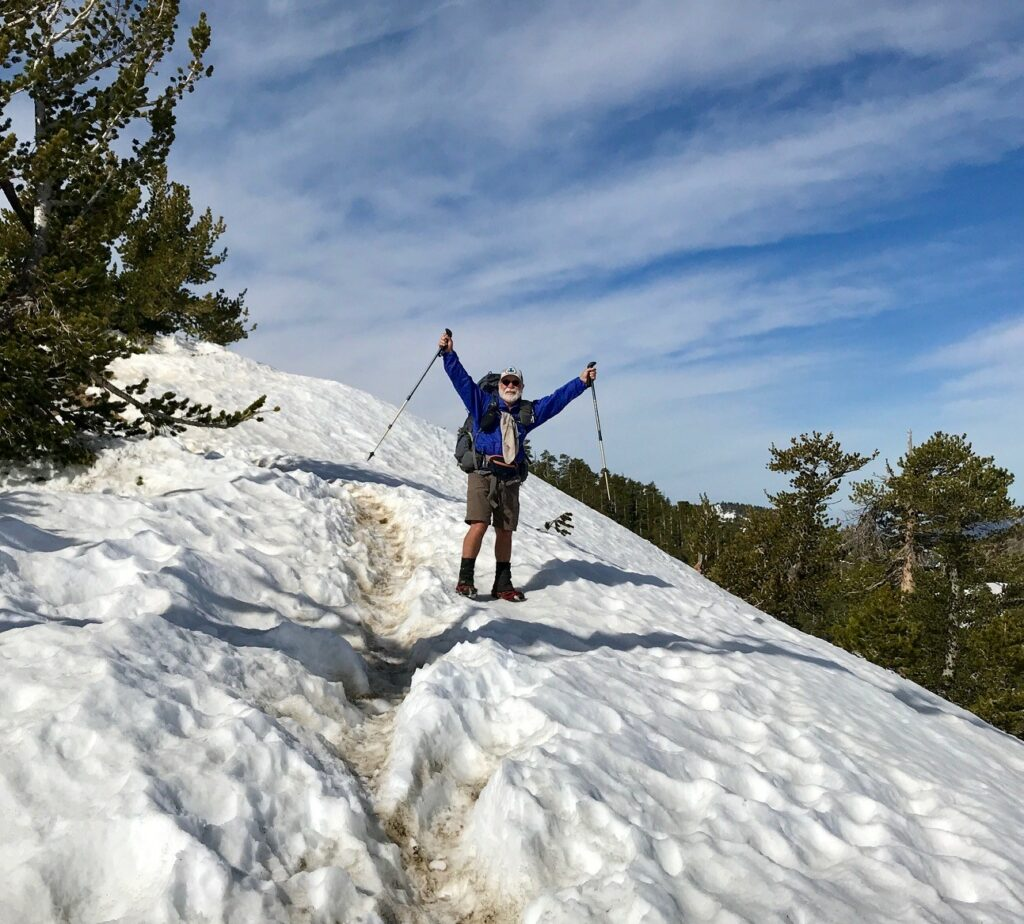 Columnist Carey Kish near the snowy summit of 9,406-foot Mt. Baden-Powell at about mile 350 on the Pacific Crest Trail. He's now past mile 700.