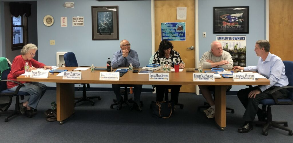 China Selectman Jeff LaVerdiere offered his immediate resignation from the board Monday night. Selectmen Irene Belanger, from left, LaVerdiere, Donna Mills-Stevens, Ron Breton and Town Manager Dennis Heath during a May select board meeting. Breton is sitting in Robert MacFarland's seat as the chairman, since MacFarland was absent.