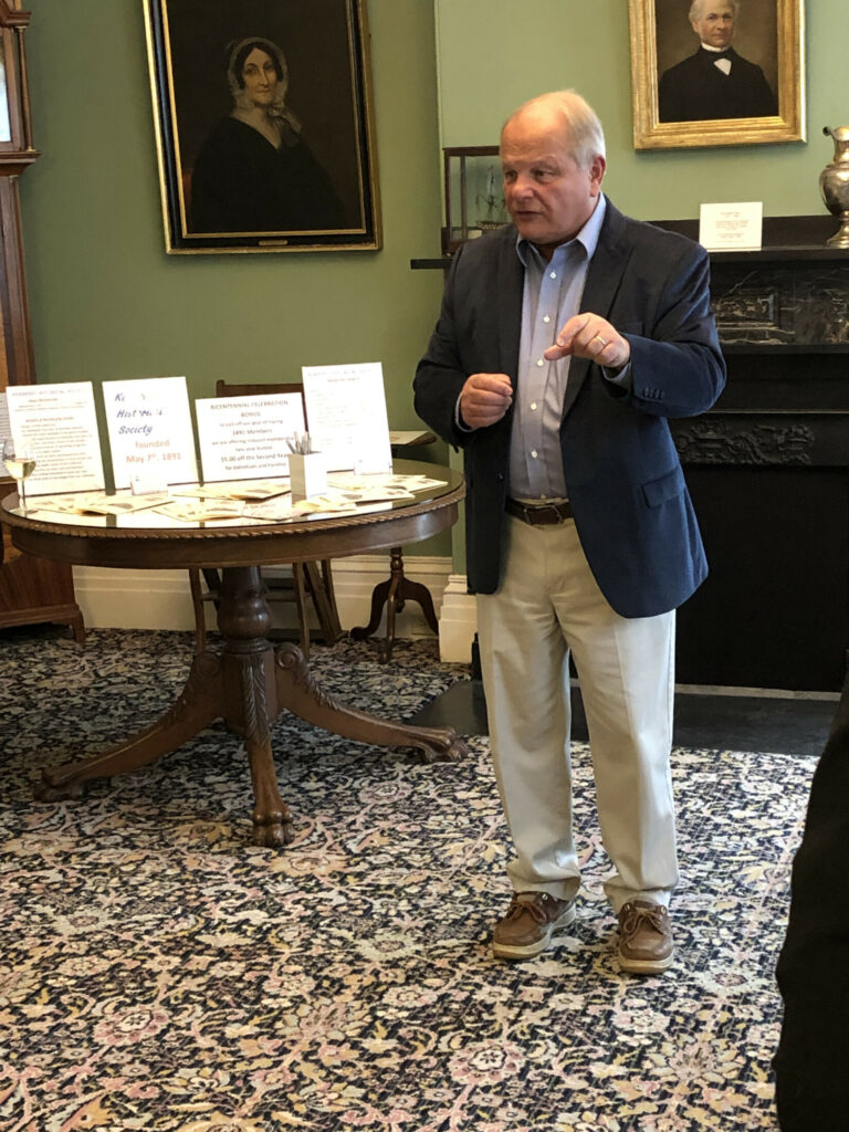 State Archivist David Cheever addresses an audience during a membership gathering of the Kennebec Historical Society. He talked about activities and events planned to help Maine celebrates its 200th anniversary. Bicentennial events will begin July 26.