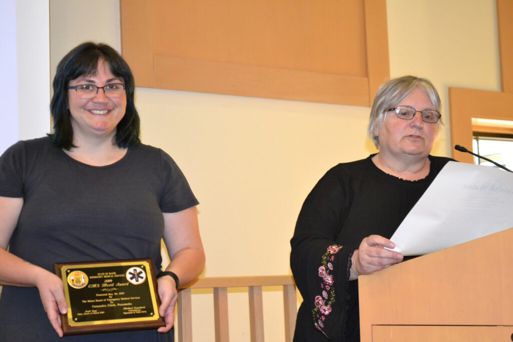 Cassandra Clark, left, was awarded the Maine EMS Merit Award on May 20 by Maine EMS; and later, Carol Tibbetts, right, was named NorthStar's EMT of the Year.