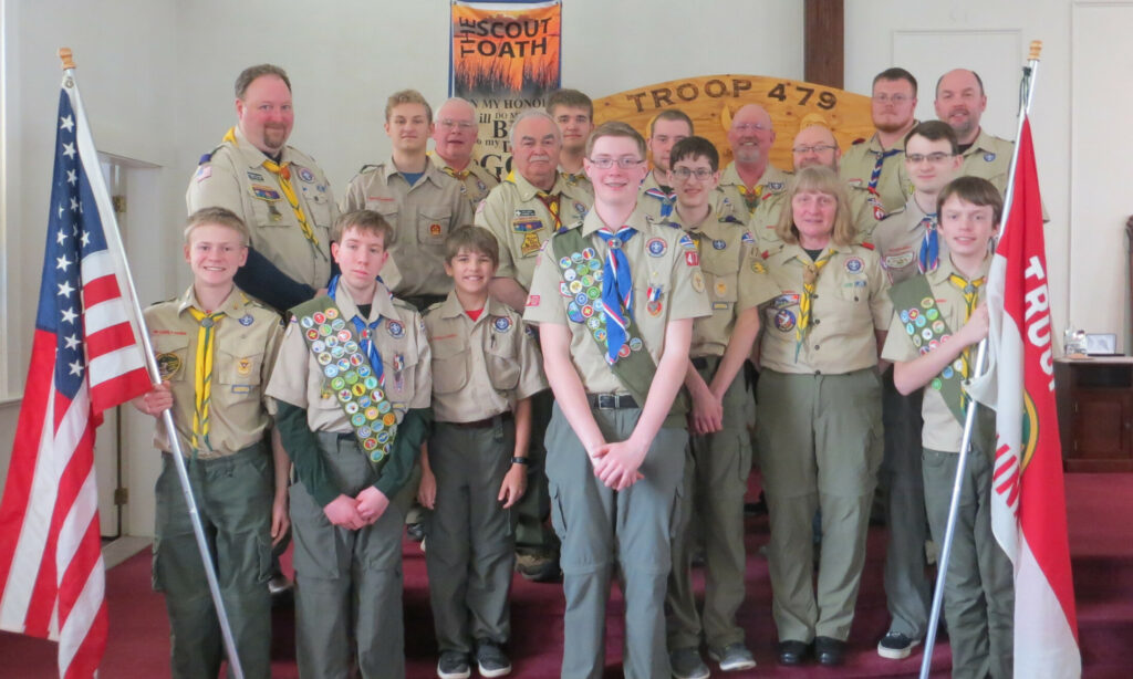 Boy Scout Troop 479 held a Court of Honor April 6 for Eagle Scout Alex Stewart, of Augusta, at the China Baptist Church. Front from left are Scouts Sam Boynton, Nick Shelton, Kasen Kelley, Alex Stewart, Nick Choate, Leader Priscilla Adams and Scout Hunter Praul. Back from left are Leader Doug Leonard, Scout Ben Lagasse, Leaders Scott Adams, Ron Emery, Scout Kaiden Kelley, and Leaders Christian Hunter, Matt Bodine, Sean Stewart and Darryl Praul.