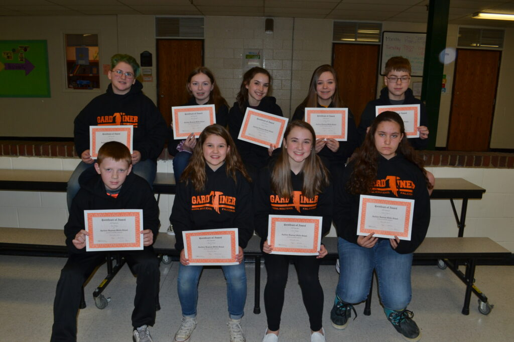 Gardiner Regional Middle School Falcons of the Month for the third quarter of the 2018-19 academic year. Front from left are Ben Tobey, Abigail Cooley, Elizabeth Kropp and Emma Doyon. Back from left are Seth Sears, Mya Pettengill, Lainey Cooley, Cassidy Clark and Eric Fyfe.