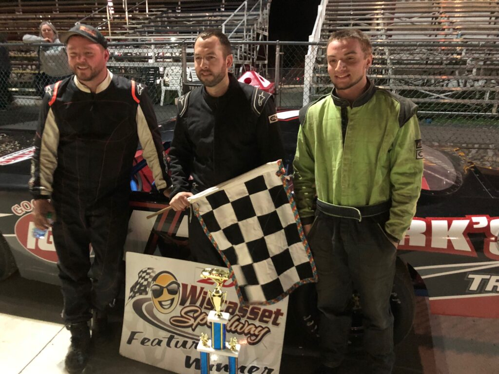 Late Model feature winner Chris Thorne of Sidney, center, is flanked by Josh St. Clair of Liberty, left, and Jake Hendsbee of Whitefield in victory lane at Wiscasset Speedway back in May. Thorne is virtually assured of winning a fifth career championship with one race remaining in the season.