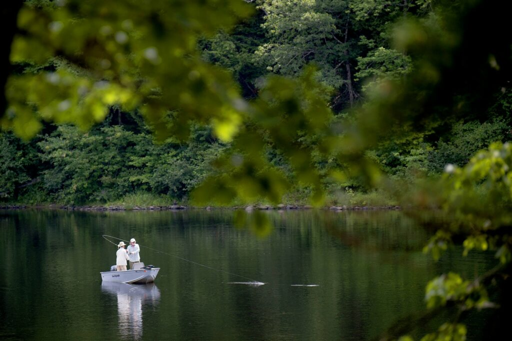 Two anglers try to hook a fish while fly fishing the Kennebec River in Skowhegan on Aug. 17, 2018.