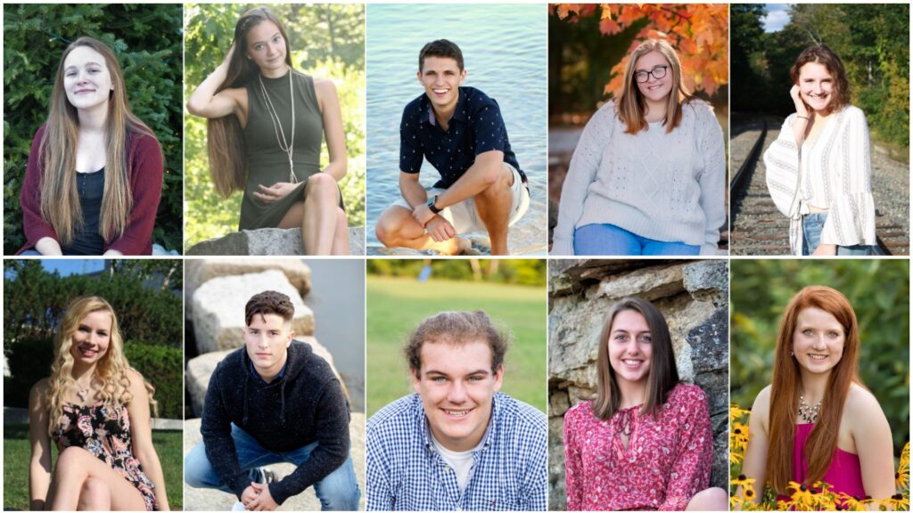 Top row from left are Catherine Daigle, Alexis Faucher, James Greenwood, Jennifer Hall and Miranda Kramer. Bottom row from left are Alani Lindsay, Noah Moring, Ethan Richard, Jade Sturtevant and Sadie Waterman.