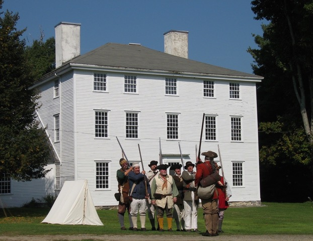 Re-enactors prepare for a Memorial Day Salute at the Pownalborough Court House in Dresden.