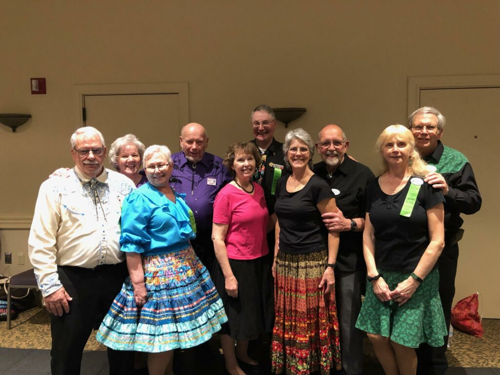 The Maine dancers who attend, front, from left, were Dave and Ellie Mulcahy, Margaret Carter, Charlotte Sinclair and Nanci Temple. Back, from left are Cindy Fairfield, Bob Brown, Bruce Carter, Milton Sinclair and Fred Temple. The clubs represented by these dancers were Squire Town Squares of Winthrop, Central Maine Squares of Waterville, Friendship Squares of Wilton, Pine Cone Reelers of Augusta and the LeVi Rounders of Hermon.