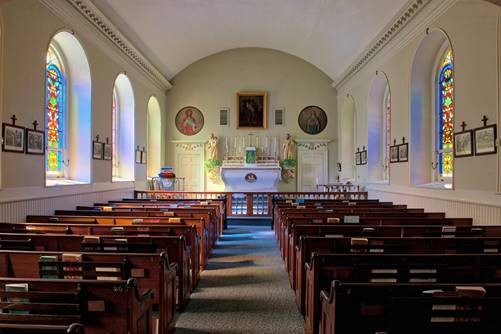 Inside the historic old St. Patrick Church in Newcastle.