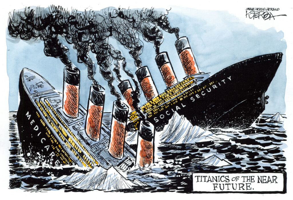 "Jeff Koterba color cartoon for 4/25/2012 ""Social Security Medicare Titanic"""
