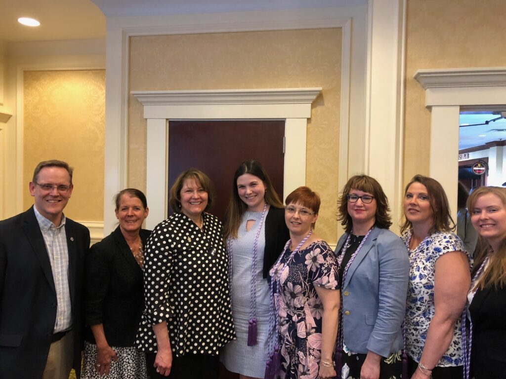 From left are Jonathan Henry, Vice President for Enrollment Management and Marketing; Brenda McAleer, Dean of the College of Professional Studies and Associate Provost; Lynne King, Professor of Nursing and Program Coordinator; and UMA nursing students Hilary Harkins, Veronica Harriman, Danielle Doyon, Karen Dunn and Caitlin Miller.