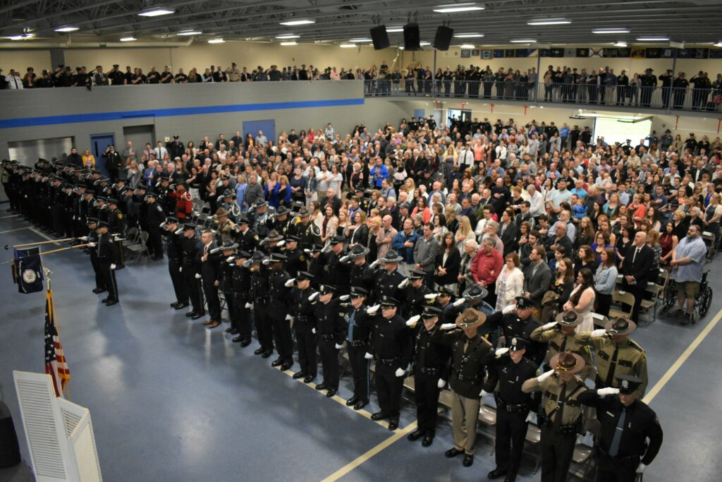 An overview of the Maine Criminal Justice Academy graduation of 63 new police officers. The event was held May 24 in the academy's Tactical Center in Vassalboro.