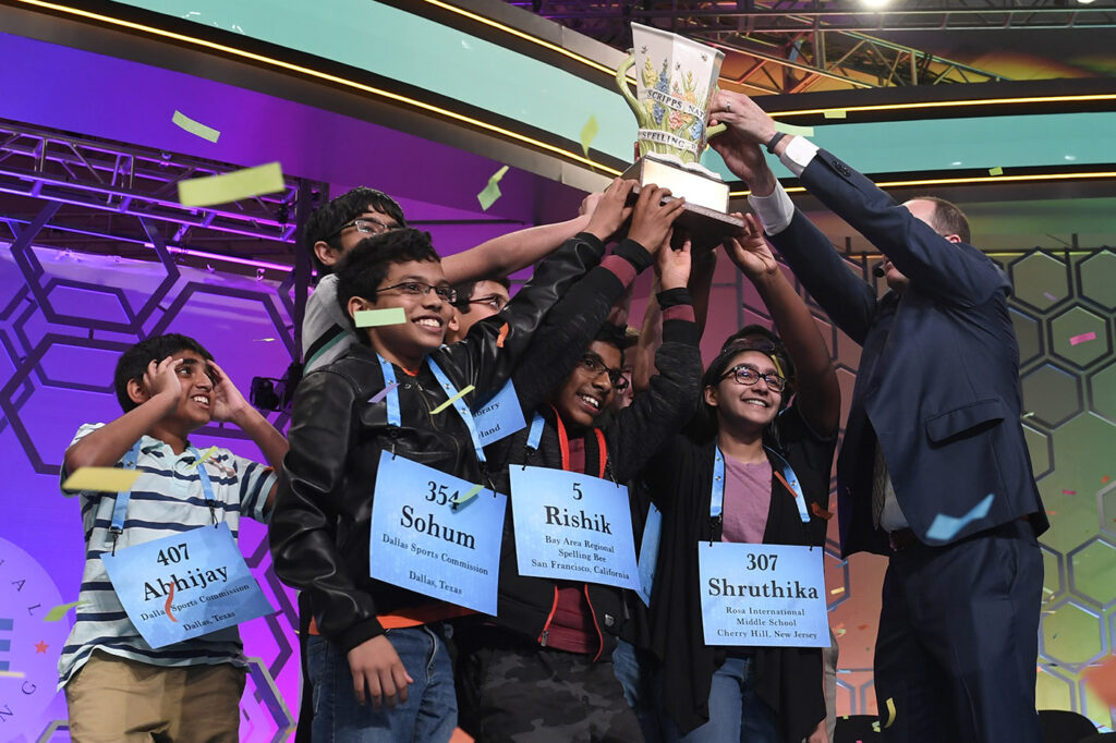Winning spellers gather together at the end of the 2019 Scripps National Spelling Bee in Oxon Hill, Md.