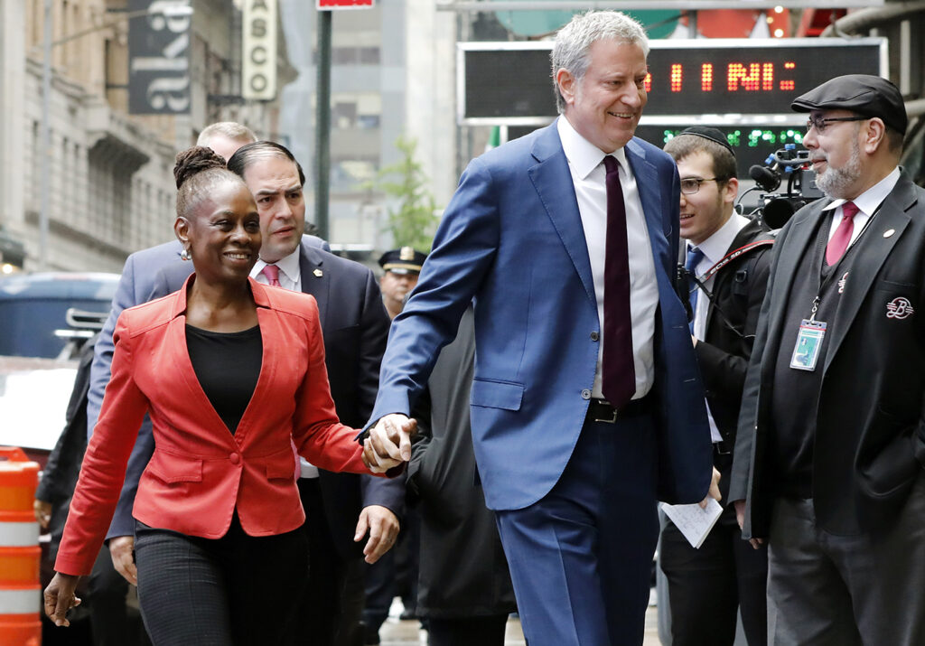 Mayor Bill de Blasio and his wife Chirlane McCray in New York City on Thursday.