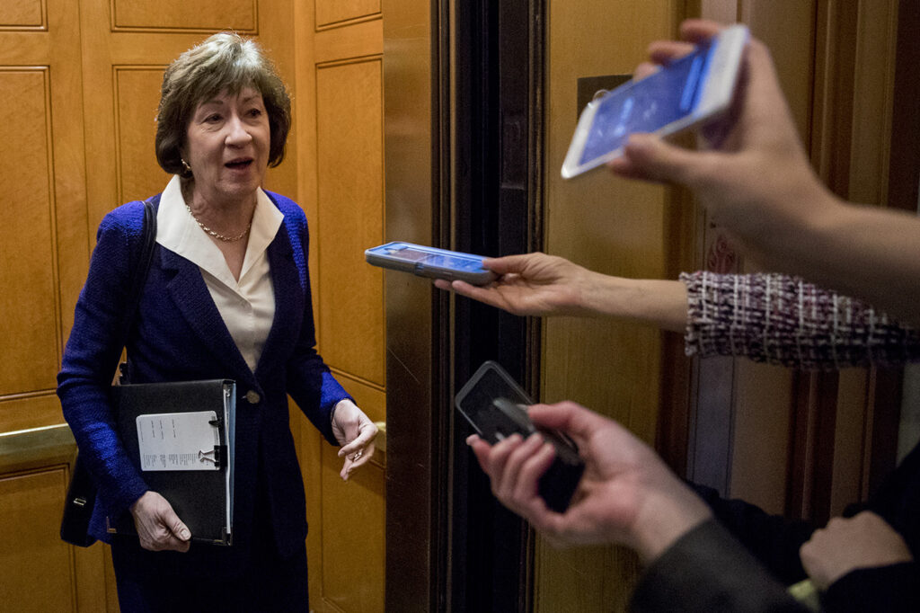 Sen. Susan Collins speaks to reporters following a Senate policy luncheon in Washington on April 2.