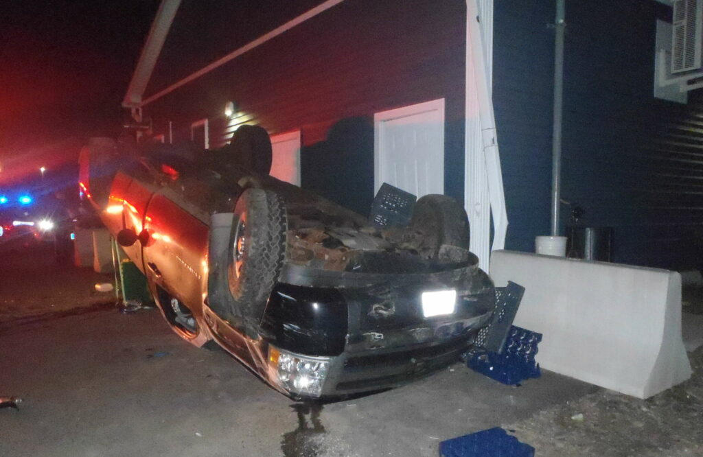 A pickup truck driven Joseph Daly-Rancourt overturned Sunday and struck Damon's Sunoco in Randolph. He was charged with operating under the influence, two counts of criminal mischief, and driving to endanger.