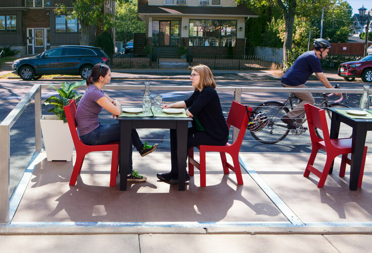 """Parklets"" like this one – a parking space turned into a outdoor dining area – may soon be appearing outside five Portland restaurants as part of a pilot program."