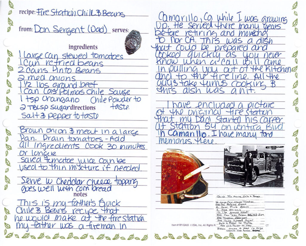 Don Sergent's recipe for chili and beans, handwritten by Debra Brown.