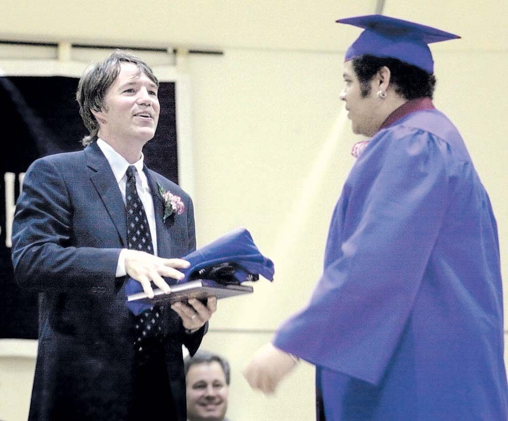 David E. Kelley's address to the 2019 graduating class at Colby College won't be the first time he addressed graduates at Colby. The Waterville-born television producer spoke to Waterville Senior High School graduates of the class of 2002 at Colby on June 6 of that year and received gifts from senior class president Terrell Kocyynski.