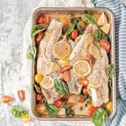 "Baked Haddock with Cherry Tomatoes, Capers and Lemon from ""The Ultimate One-Pan Oven Cookbook."""