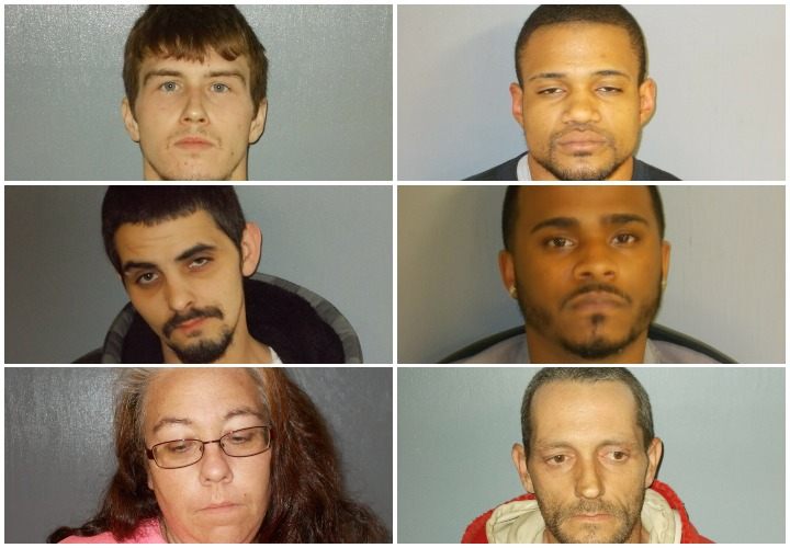 The suspects whom police arrested in drug raids early Friday morning in Waterville are Joshua Bilodeau, top left; William Botex, top right; Martin Fernald, middle left; Jheremy Sanchez, middle right; Gloria Pressey, bottom left; and Christopher Violette, bottom right.