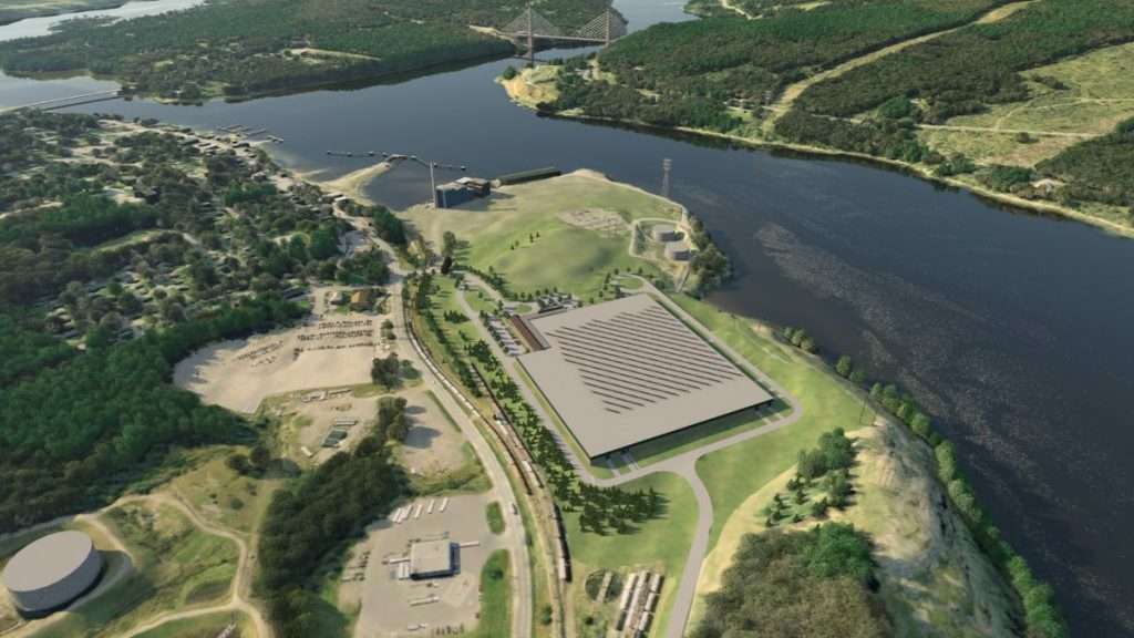 This rendering shows a proposed 120-acre salmon farm on a portion of land once occupied by the Verso  paper mill in Bucksport.