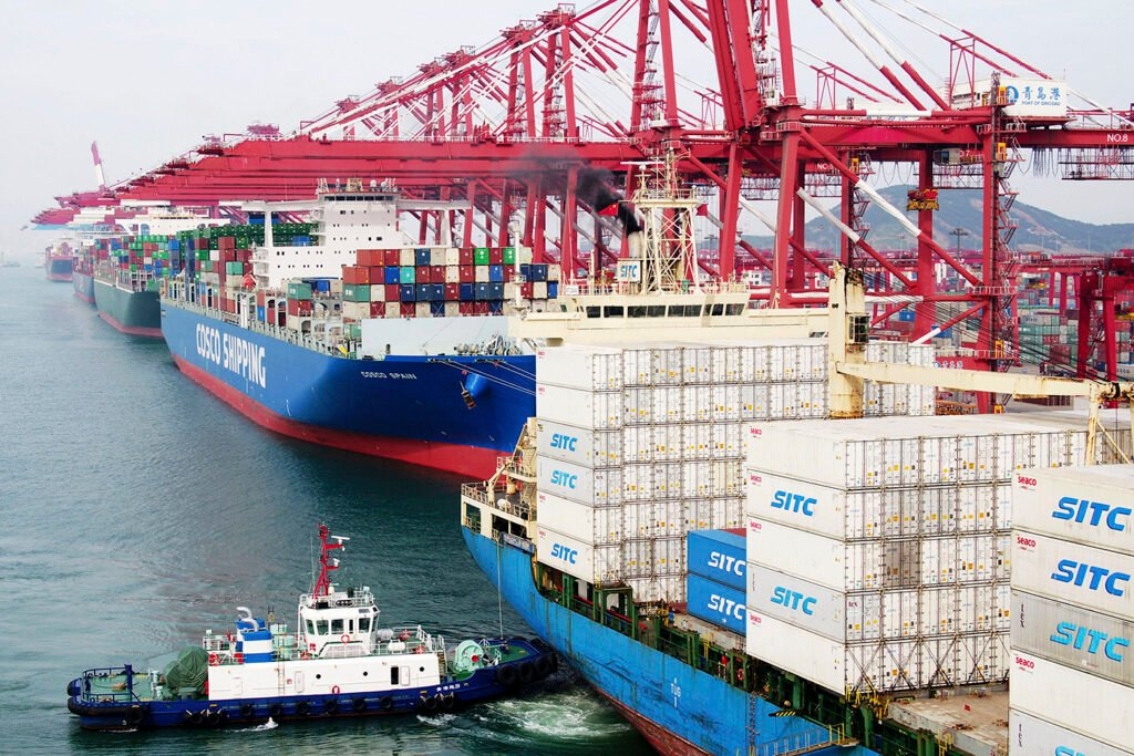The dockyard in Qingdao in eastern China's Shandong province on May 8. President Donald Trump's latest tariff hikes on Chinese goods took effect Friday.