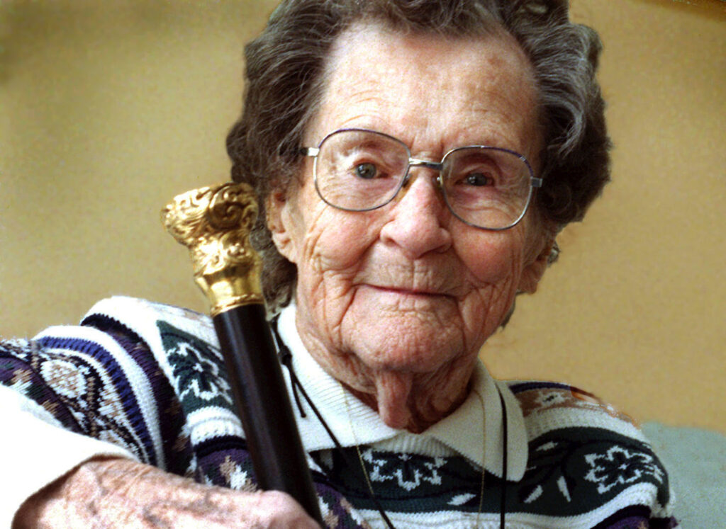 Edna Haley, 97, of Bowdoinham with her Boston Post Cane in 2001. The cane is given to a town's oldest resident.