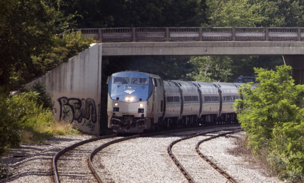 The northbound Amtrak Downeaster on its way to Brunswick in 2016. The rail authority had hoped to extend seasonal service to Rockland this year, but delays in testing tracks have pushed that off to next spring.