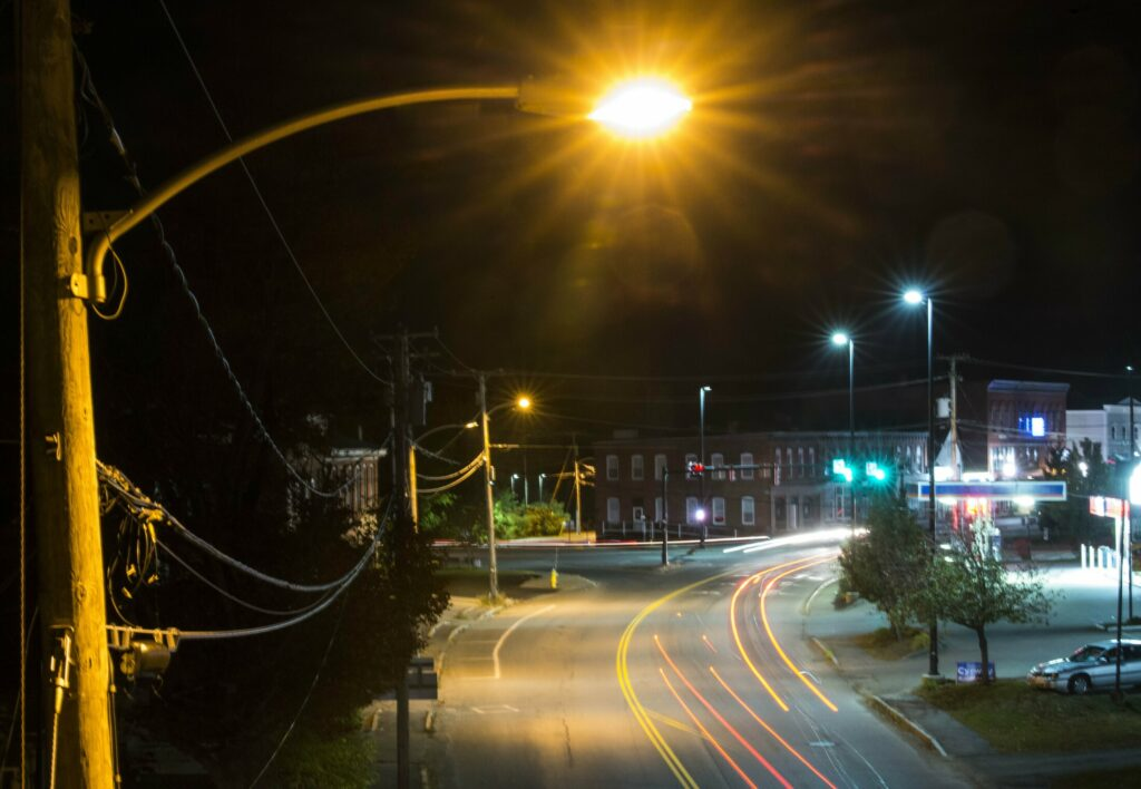A lone street light illuminates Upper Main Street on Oct. 19, 2018, next to the train overpass in Fairfield. The Town Council is considering a switch to LED street lights.