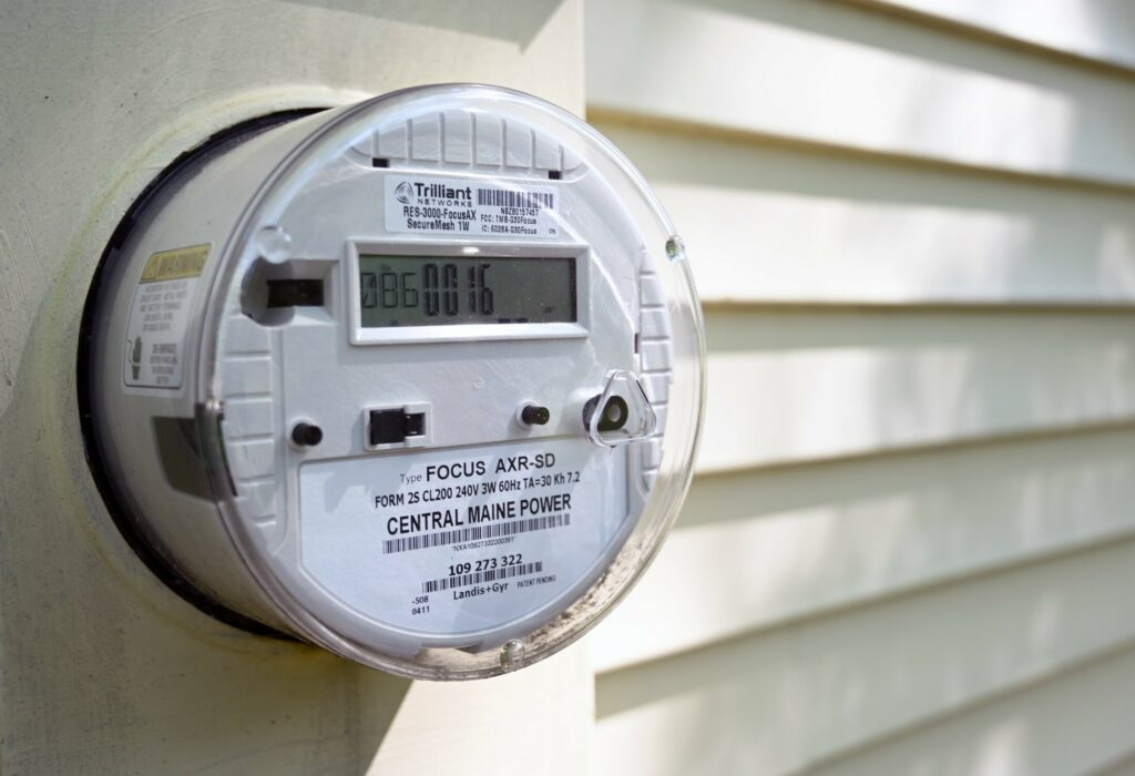 A smart meter in Saco.