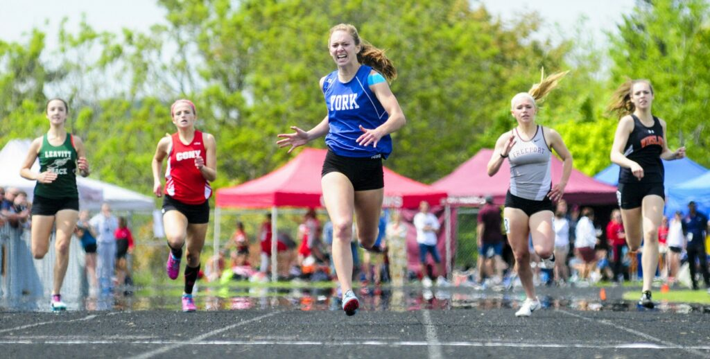 York's Erin O'Donnell wins 400 meters at the Class B track and field state championship meet Saturday in Brewer. O'Donnell finished in 1:00.29.