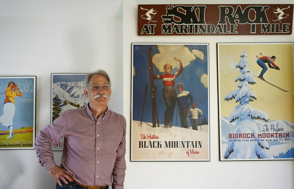 Andy Shepard in his home office in Freeport  on Monday. Shepard, whose vision and leadership gave rise to the Maine Winter Sports Center and world-class biathlon facilities in Fort Kent and Presque Isle, says he will step down from Outdoor Sports Institute.