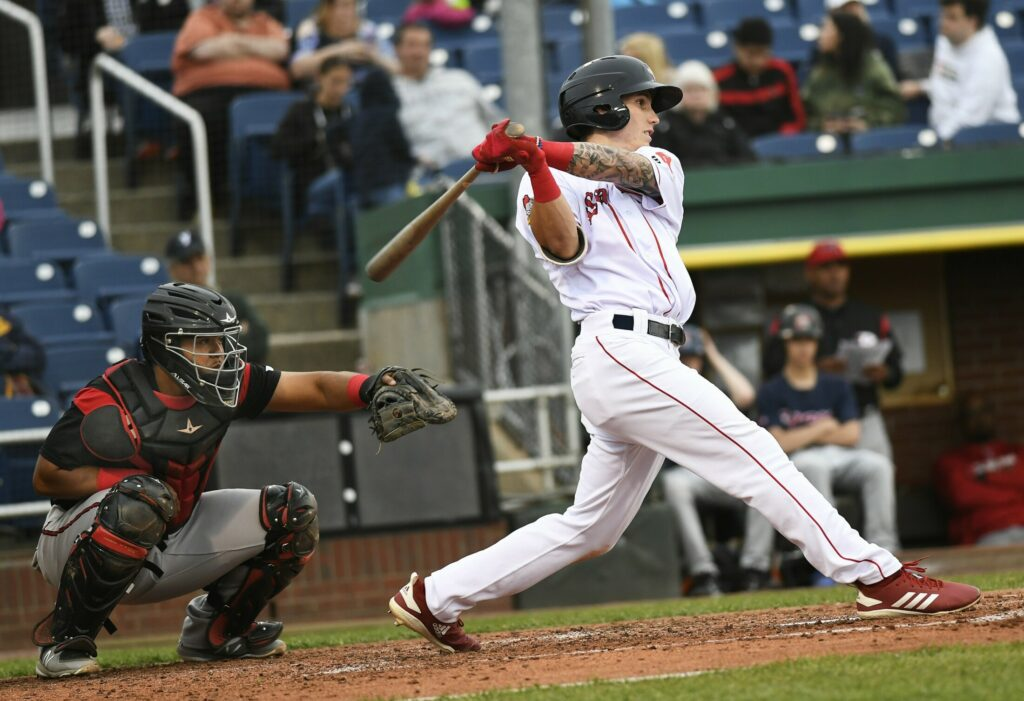 Jarren Duran of the Sea Dogs connects for a base hit against the Richmond Flying Squirrels Tuesday night at Hadlock Field.