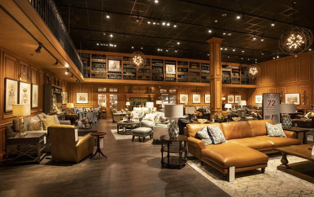 Two out-of-state furniture chains are opening stores in Greater Portland. Here is a living room display from the Jordan's Furniture store in Reading, Massachusetts, one of the two chains coming to Maine. The other, Bernie & Phyl's, opens in the former Toys R Us space Monday.