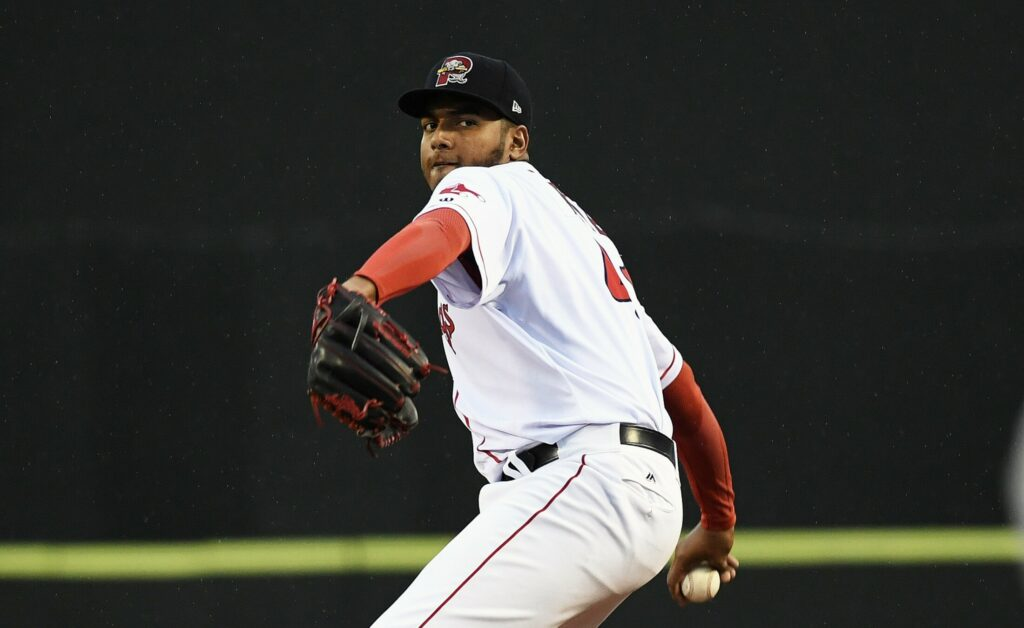Portland's Denyi Reyes allows four runs in the first innings, but then pitched five scoreless innings.