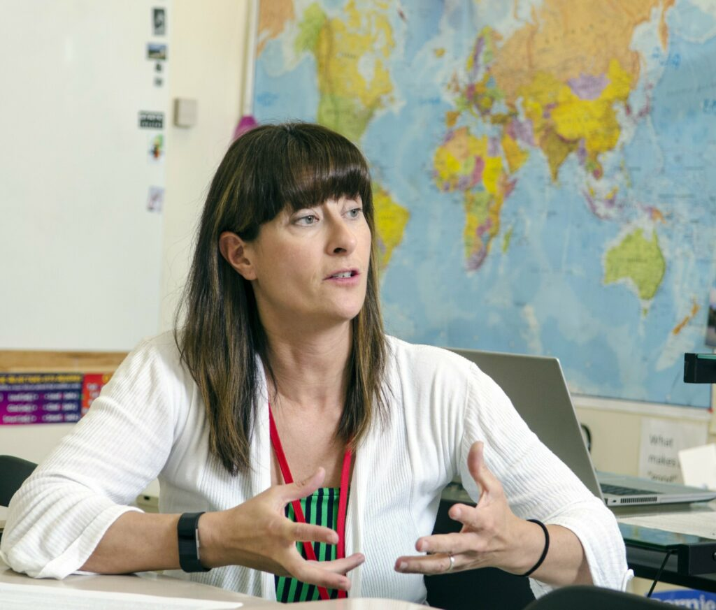 Cony High School teacher Karina Escajeda, interviewed Wednesday at the school in Augusta, will be studying in Greece next year as a Fulbright teacher.