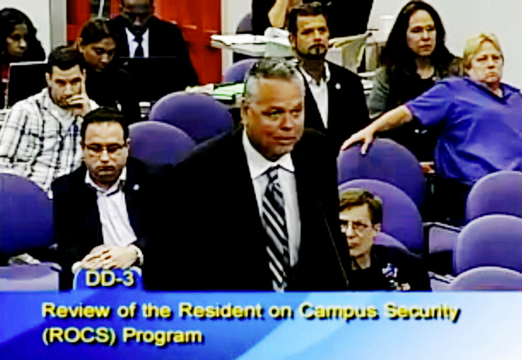 In this Feb. 18, 2015, file frame from video from Broward County Public Schools, school resource officer Scot Peterson talks during a school board meeting of Broward County, Fla. Peterson, the then-Florida sheriff's deputy assigned to protect the high school where 17 died in a 2018 shooting has been arrested on 11 charges, Tuesday, June 4, 2019.