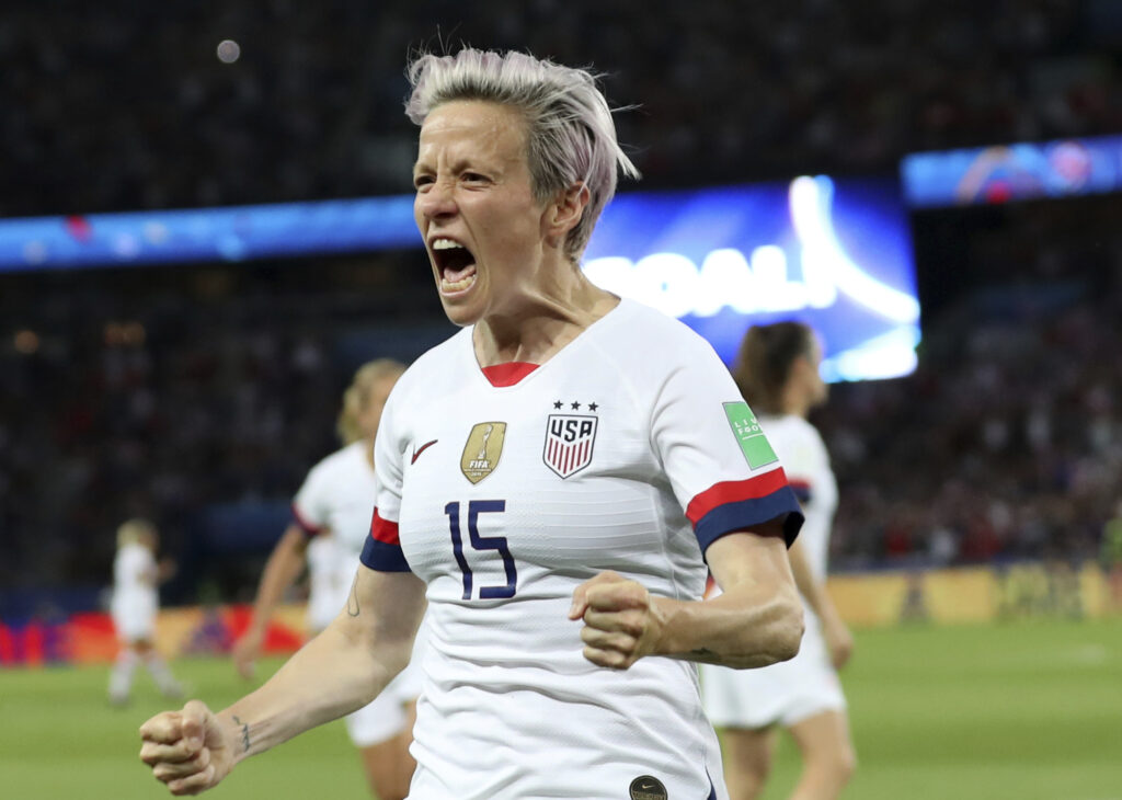 The United States' Megan Rapinoe celebrates after scoring her second goal in the Women's World Cup quarterfinal match against France on Friday.