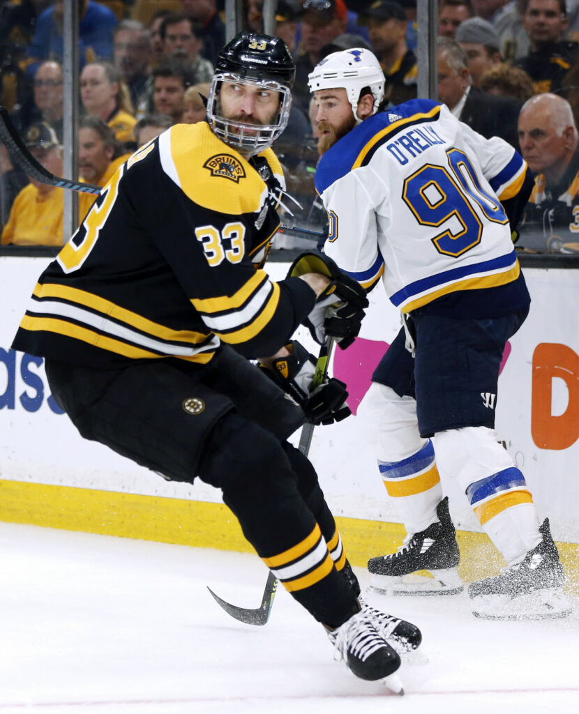 Zdeno Chara, left, and the Boston Bruins face a winner-take-all Game 7 on Wednesday against Ryan O'Reilly and the Blues.