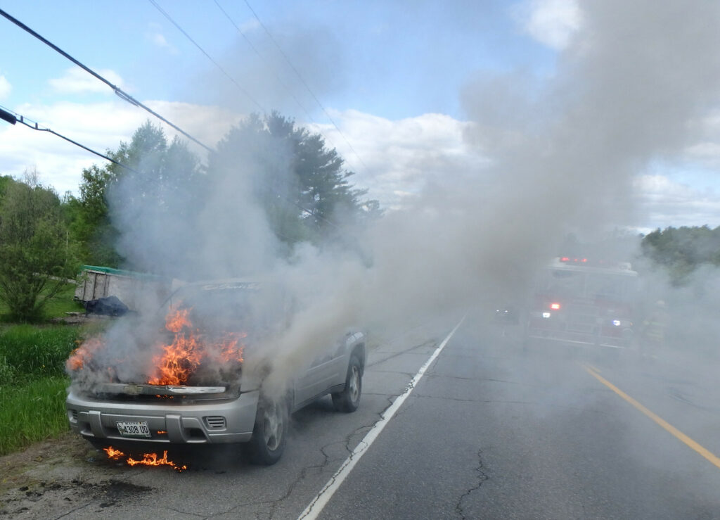 No one was injured Tuesday, when the front end of an SUV burst into flame on China Road in Winslow, likely fueled by a leaking transmission line. While the blaze held up traffic for a while, the 28-year-old woman who was driving the vehicle and a 2-year-old girl suffered no harm.