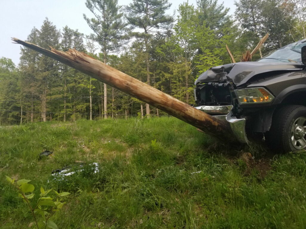 Route 302 in Fryeburg was closed as rescuers responded to the site of this crash Saturday evening. (Photo courtesy of Fryeburg Police Department)